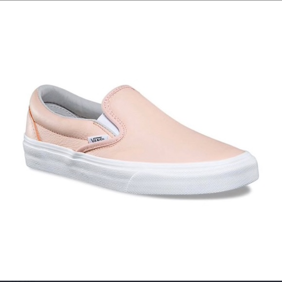 62ba8713df Light pink leather slip on vans. M 5c38ea39194dad4124b17072